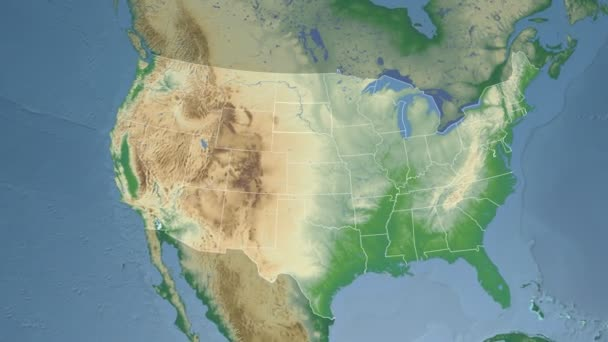 South Dakota state (USA) extruded on the physical map of North ...