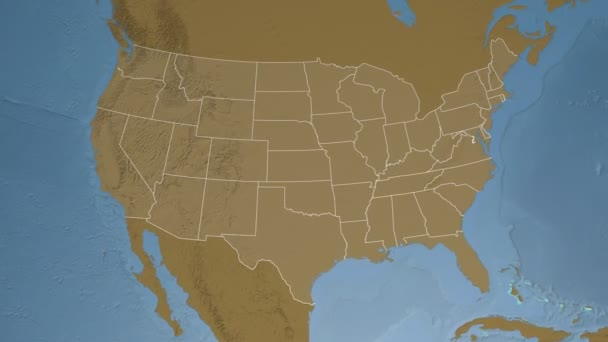 Tennessee state (USA) extruded on the elevation map of North America ...
