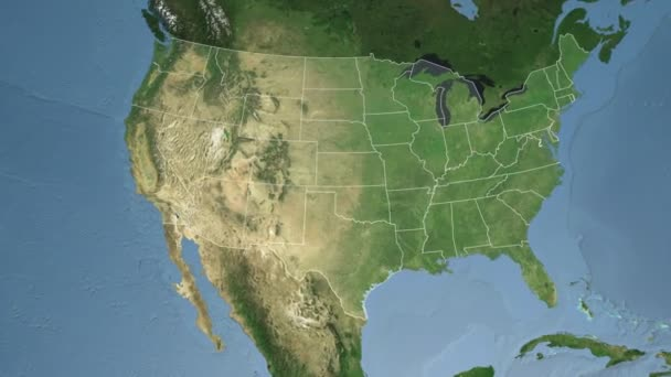 Texas State Usa Extruded On The Satellite Map Of North America