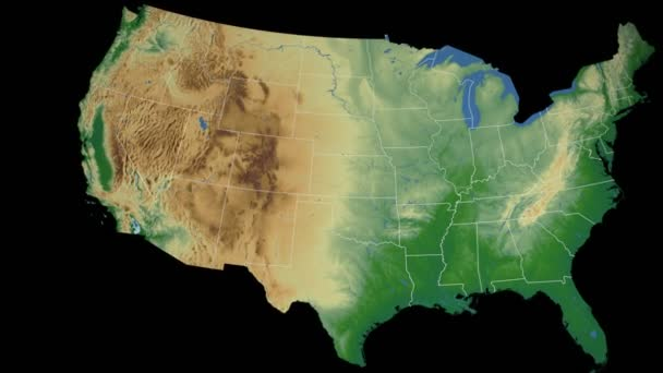 Nevada state extruded on the physical map of the USA isolated on