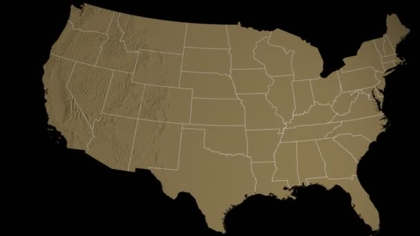 utah state extruded on the elevation map of the usa isolated on black