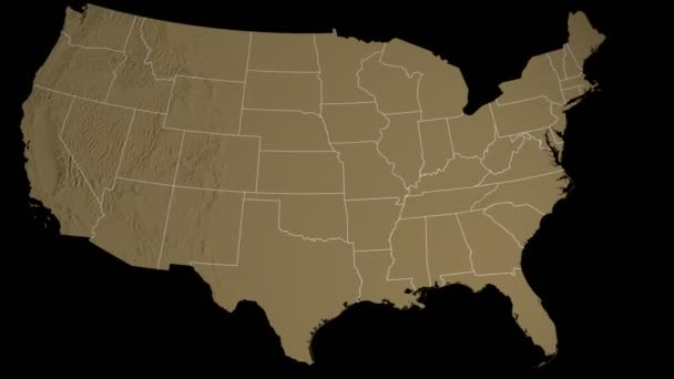 Tennessee state extruded on the elevation map of the USA isolated on black.