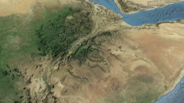 Ethiopia, glide over the map, outlined