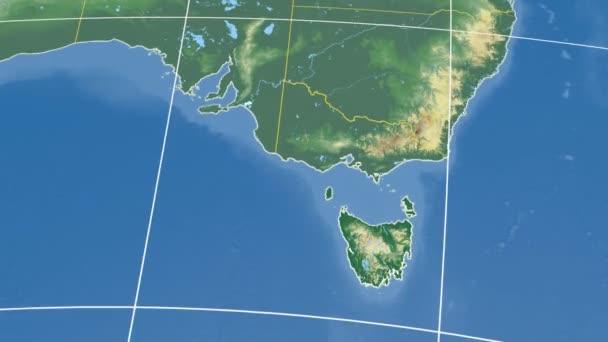 Tasmania - Australia state extruded. Bumps shaded