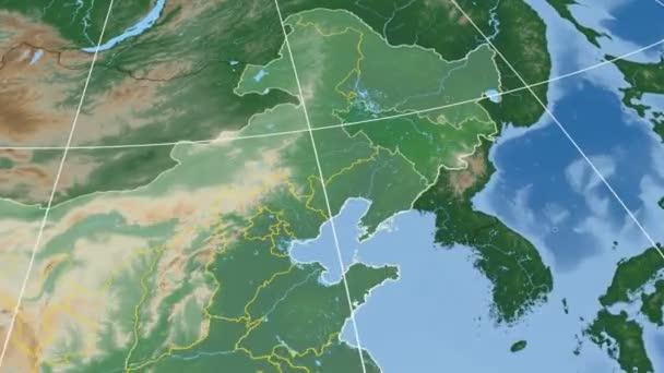 Jilin - China province extruded. Bumps shaded