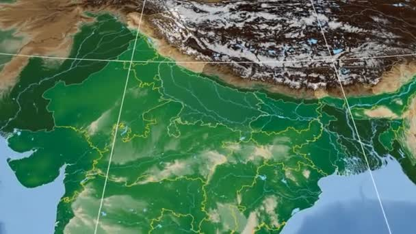 Uttar Pradesh - India region extruded. Bumps shaded