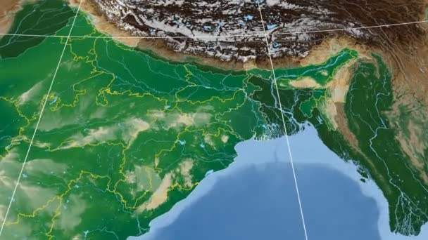 West Bengal - India region extruded. Bumps shaded