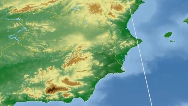 Region De Murcia - Spain autonomous community extruded. Bumps shaded