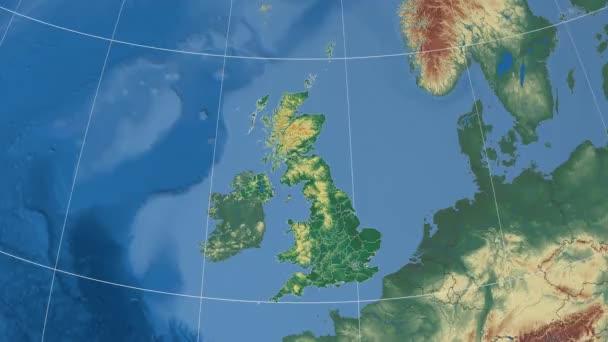 Zoom-in v Lincolnshire, Velká Británie (Anglie) - vytlačované a zvýrazní. Nadmořská výška  zemskou údaje ve stínu. 4k