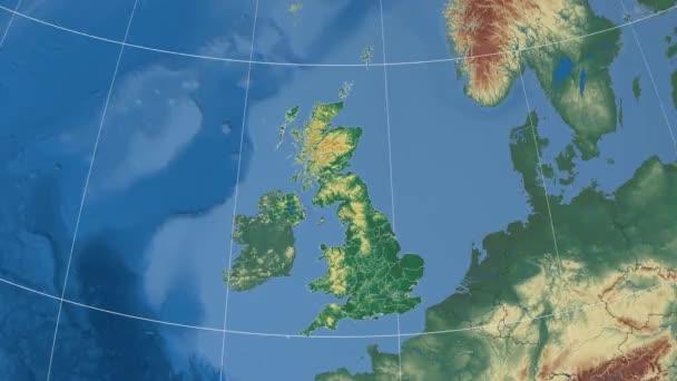 Přiblížení na Glasgow, Spojené království (Skotsko) - extrudovaný, zvýrazní a nastínil. Nadmořská výška  zemskou údaje ve stínu. 4k