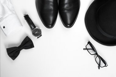 Men's accessories men's shoes, watches, glasses, bow tie, sleeve shirt and hat