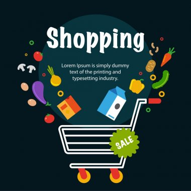 Supermarket shopping cart with food. Flat isolated vector illust