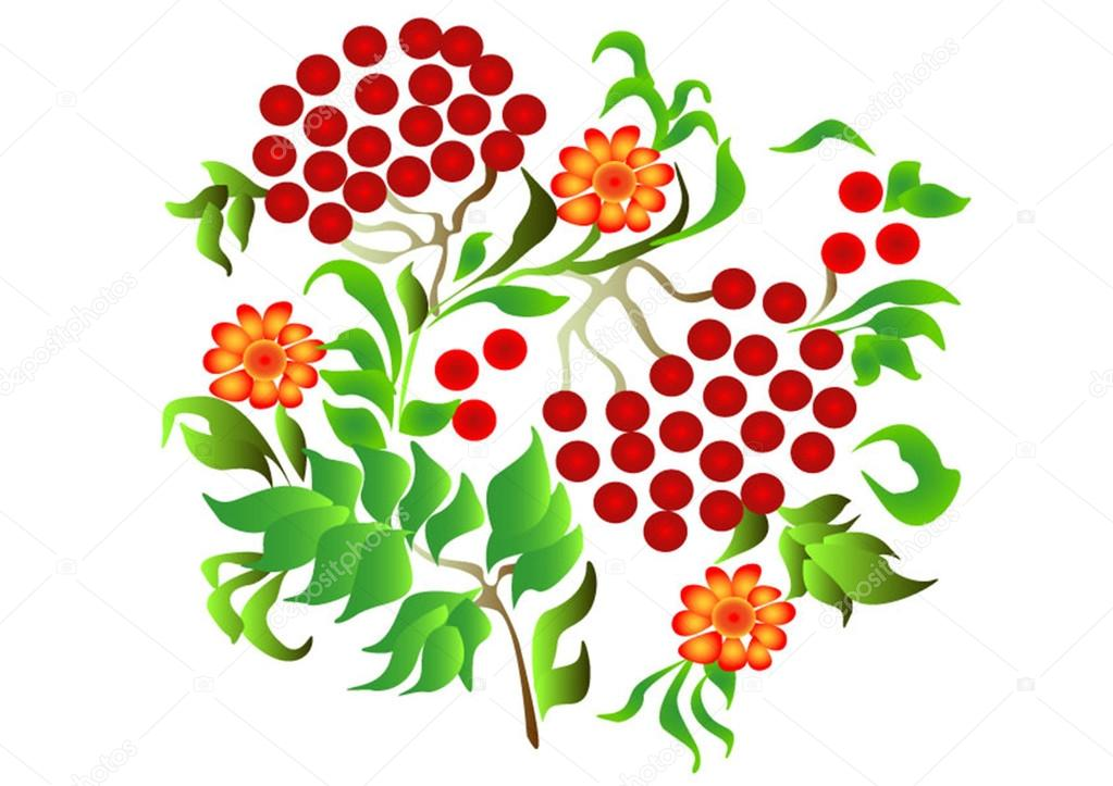 Folk art red rowan