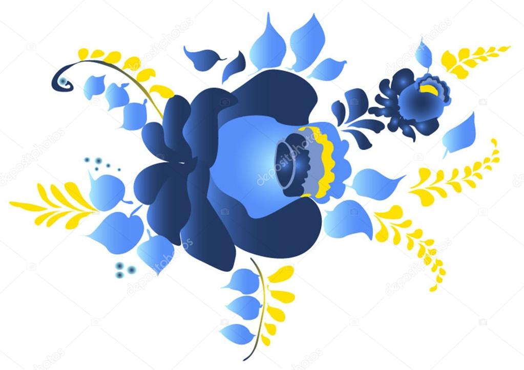 floral painting in blue tone