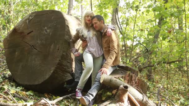 Couple together in autumn forest