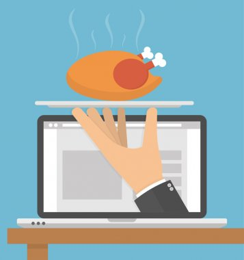 Ordering food online concept. Hand holding silver serving tray with a hot roasted or grilled chicken on it on a laptop display. Flat style clip art vector
