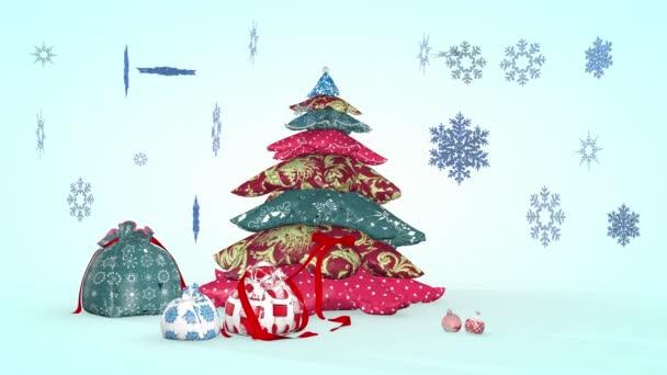 Krásná vánoční kompozice se sněhovými vločkami. 3D vykreslování