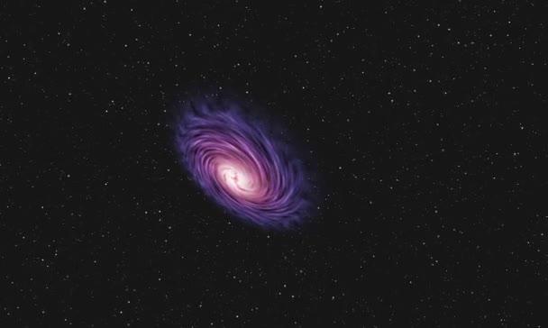 Fialový spirální galaxie ve vesmíru a pohyb hvězd.