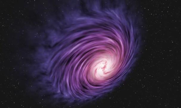 Fialový spirální galaxie ve vesmíru.