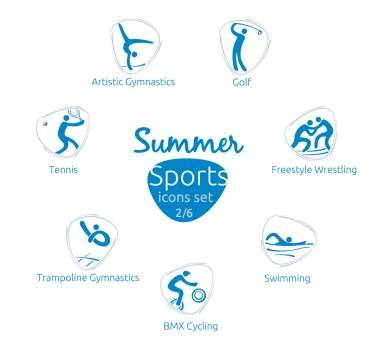Summer sports icons set, 2 of 6, vector illustration, template