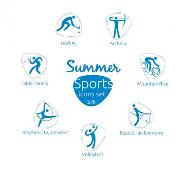 Summer sports icons set, 5 of 6, vector illustration, template