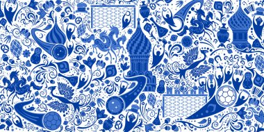 Russian background, pattern with modern and traditional elements