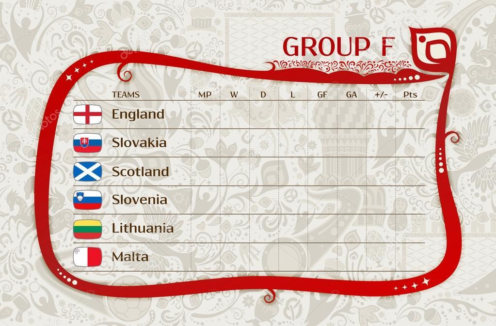 Voetbal Wereldkampioenschap  Europese Kwalificatie Wedstrijden F Groepstabel Van Resultaten Gelaagdheid Gemakkelijk Bewerkbare Vector Sjabloon
