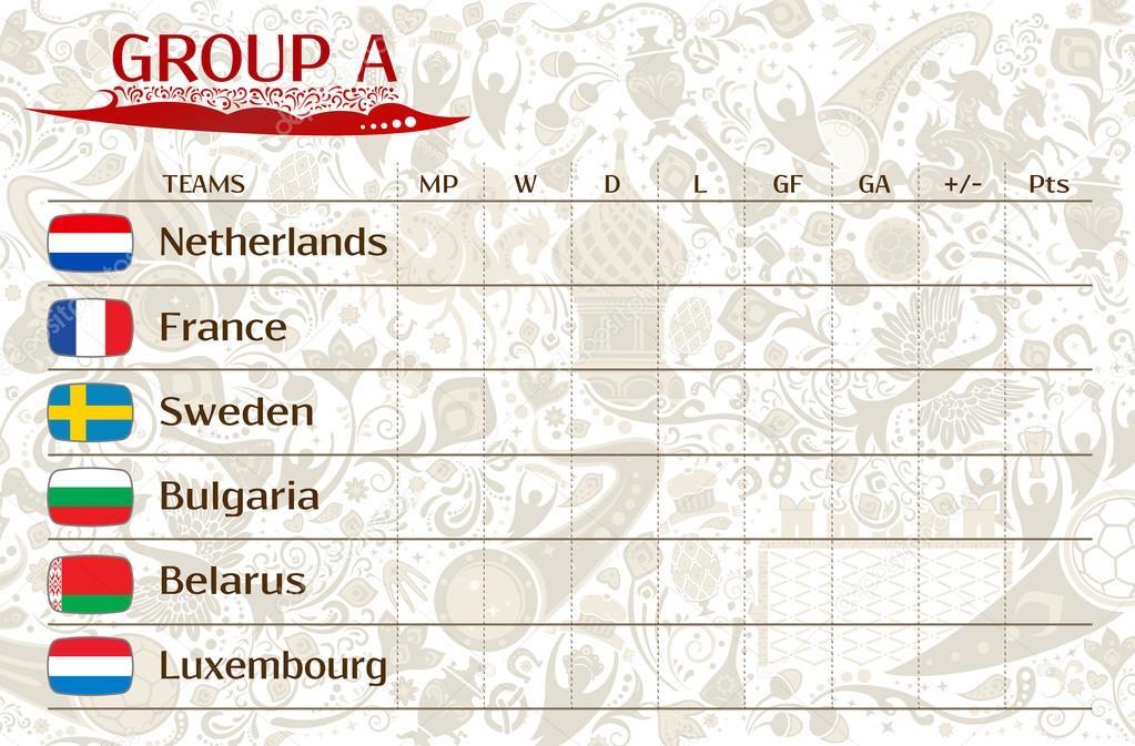 Europese Kwalificatie Wedstrijden Groep A Table Van Resultaten Stockvector