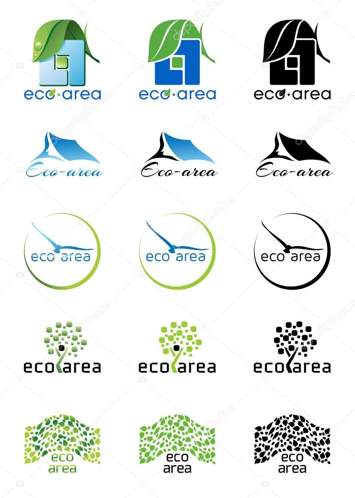 Eco area logos, icons set