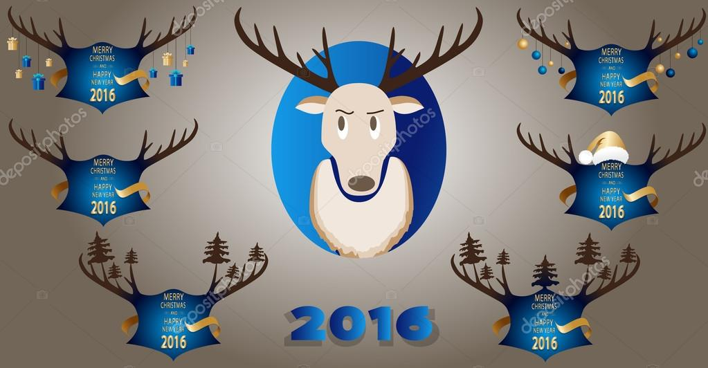 Christmas banner with horns and a deer on a blue background.