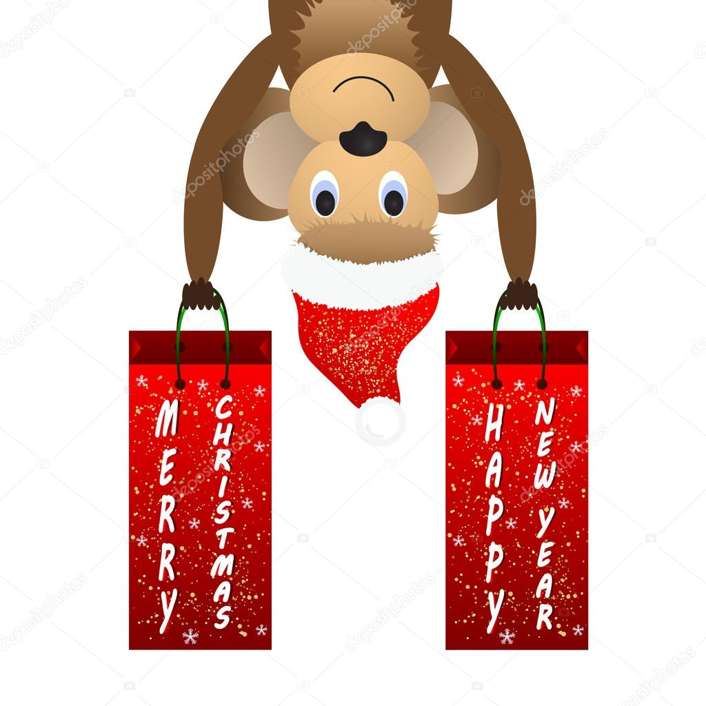 Christmas background with a monkey and a gift bag.
