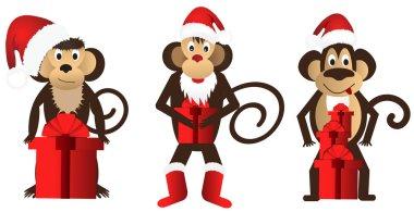 Set funny monkeys with a gift. Vector illustration. clip art vector
