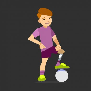Paralympic athlete child on the prosthesis with a soccer ball.