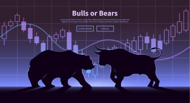 Trading banner. The bulls and bears.