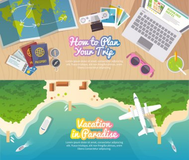 Colourful travel vector flat banner set