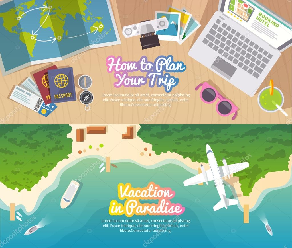 Colourful travel vector flat banner set