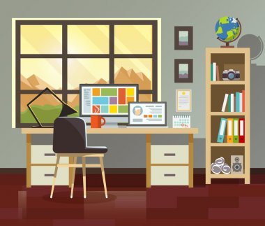 Workplace in sunny room