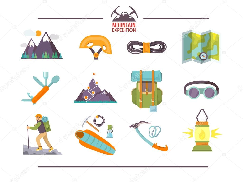 Colorful flat vector icons set .
