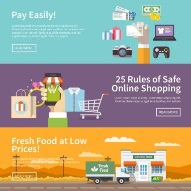 Banners on theme of online shopping