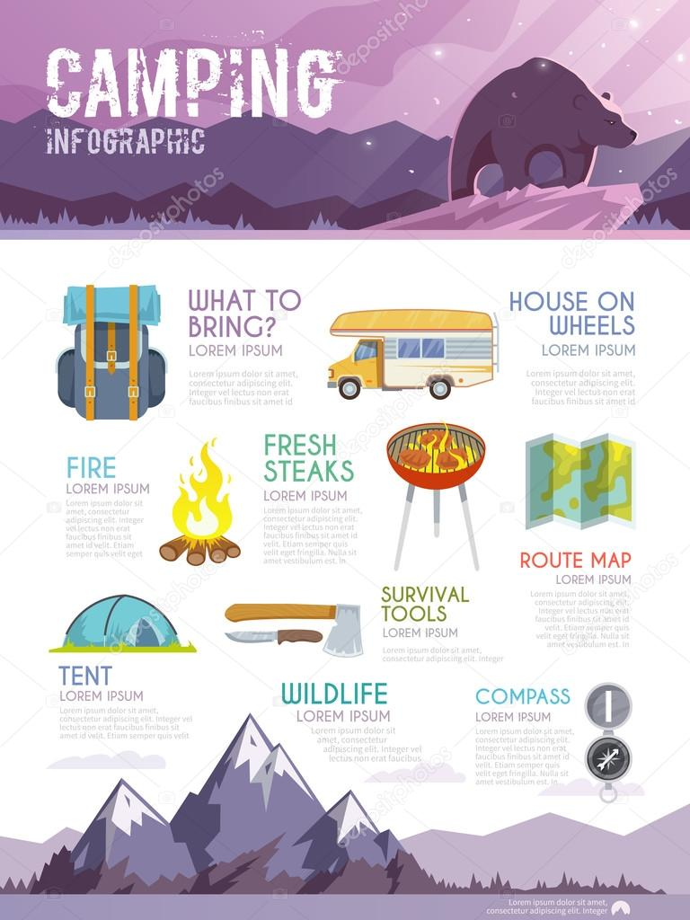 Colourful camping infographic