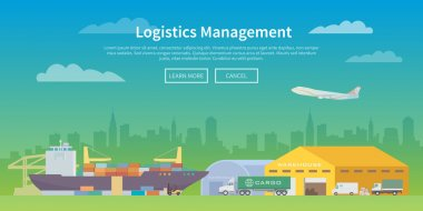 Vector web banner on the theme of Logistics.