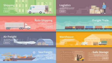 Set of flat vector web banners on the theme of Logistics, Warehouse, Freight, Cargo Transportation. Storage of goods, Insurance. Modern flat design. stock vector