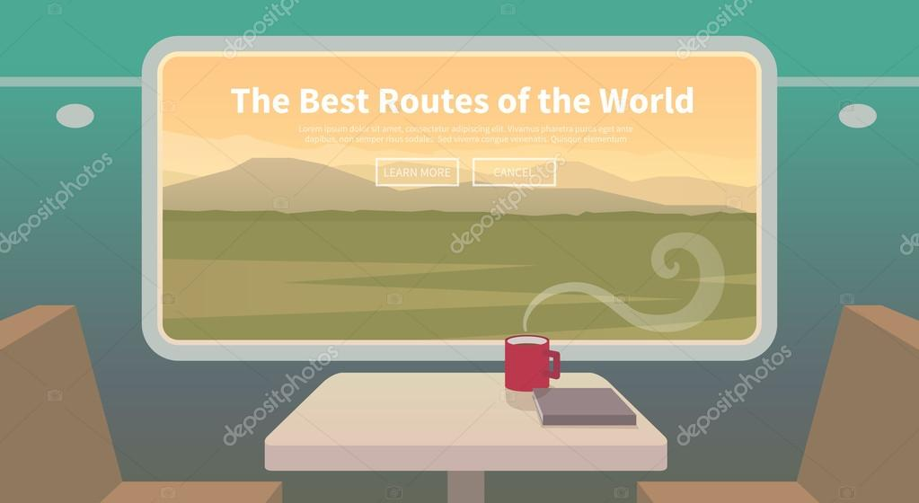 Travel by train. Web banner.