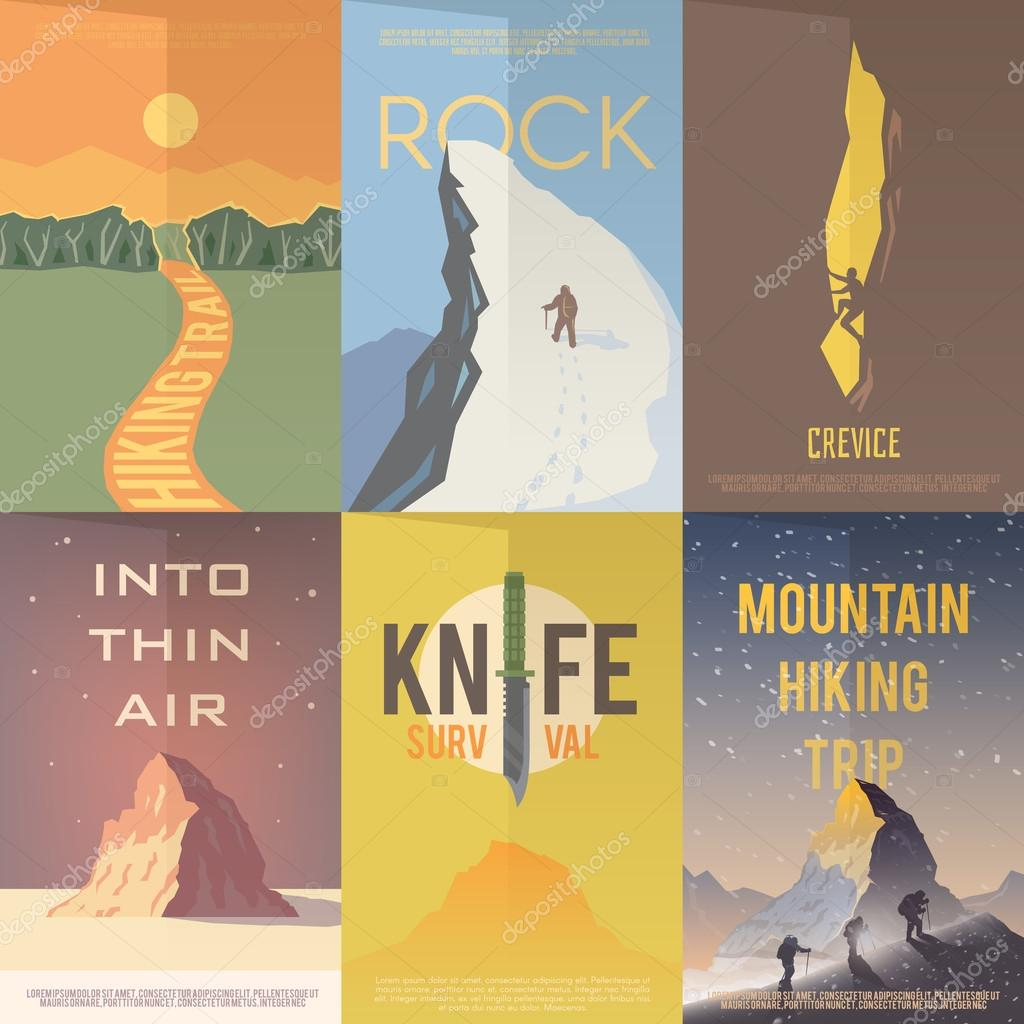 Flat vector advertising posters. Climbing, Hiking.