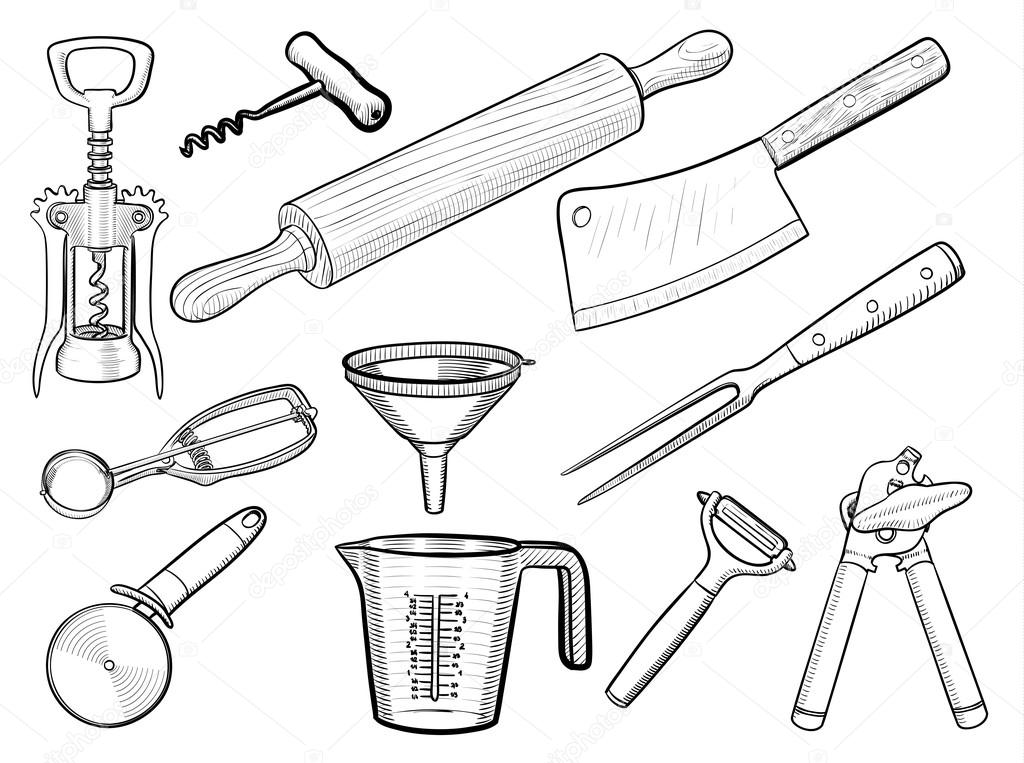 Kitchen Utensil Sketches U2014 Stock Vector U00a9 Predragilievsi #99494068