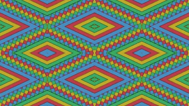 Kaleidoscopic Shapes Stripes and Rhombus Colorful Seamless Looping Background