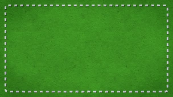 Rám pomlčky okraje papíru textury animovaného zelené pozadí