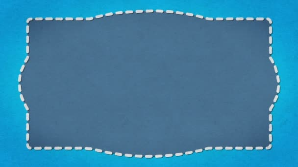 frame dashes border paper texture animated blue background stock