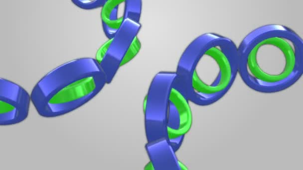 Rolling blue and green tubes