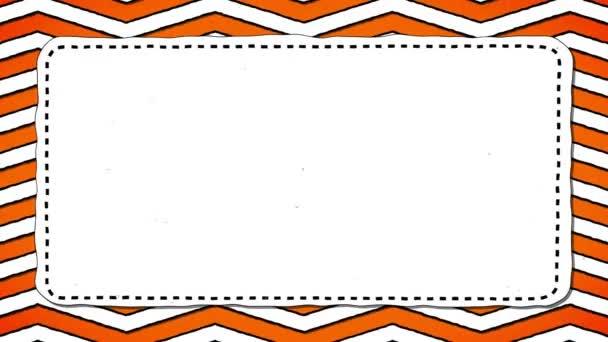 Orange Stripes Zig-Zag White Rectangle Shape Background For Text